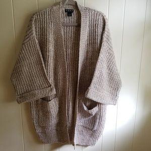 Beige and cream woven oversized cardigan szL